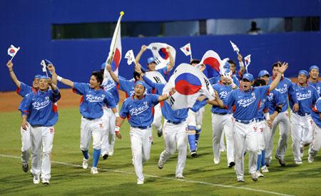 五輪・喜ぶ韓国チーム