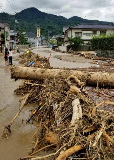 大雨で冠水した住宅地に流れついた倒木=広島県坂町(住民提供)