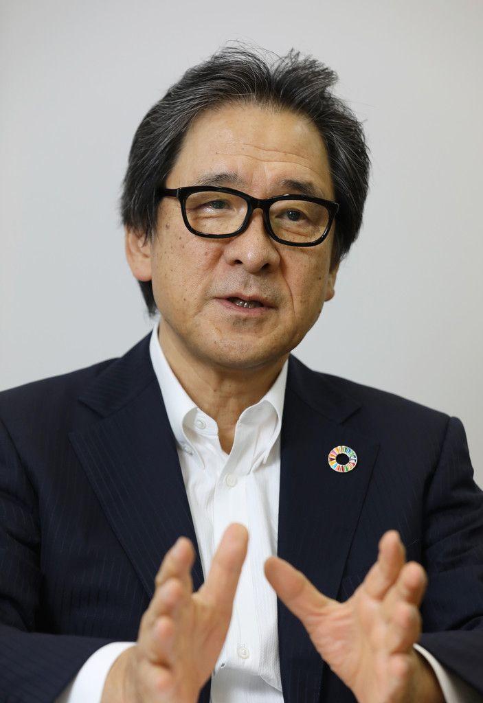 インタビューに答える日本国際博覧会協会の石毛博行事務総長=11日、大阪市住之江区