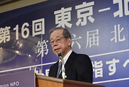 30日、東京都内のホテルで開かれた「東京―北京フォーラム」で講演する福田康夫元首相