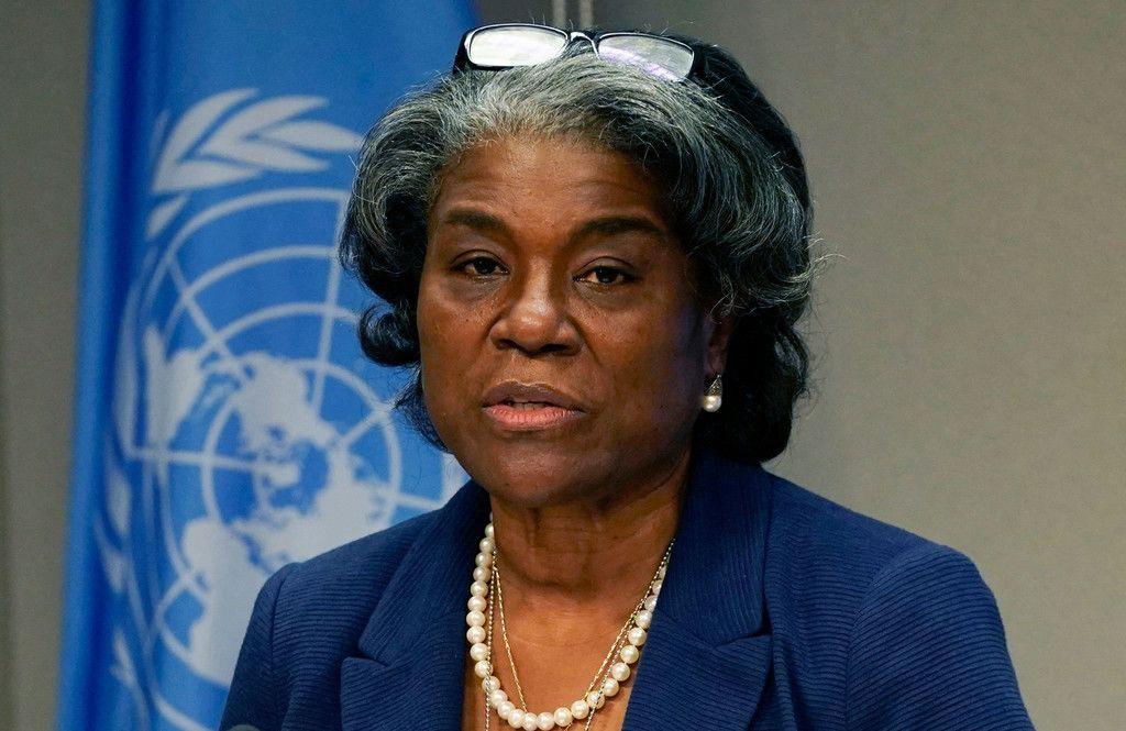 ニューヨークの国連本部で記者会見するトーマスグリーンフィールド米国連大使=3月1日(AFP時事)