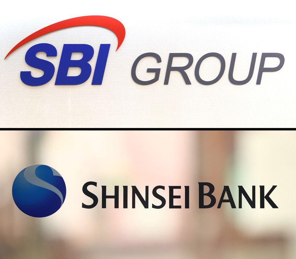 インターネット金融大手SBIグループ(写真上)と新生銀行のロゴマーク=15日、東京都内